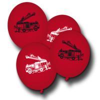 8 rote Luftballons mit Feuerwehr Motiven