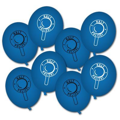 8 blaue Luftballons mit Polizei Motiv