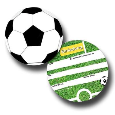 6 Einladungskarten Fußball für Kindergeburtstag oder Mottoparty