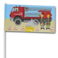 Deko-Fähnchen am Kunststoffstab mit Feuerwehr Motiv für...