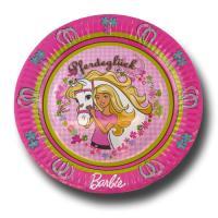 6 Pappteller mit Barbie Pferdeglück Partymotiv.