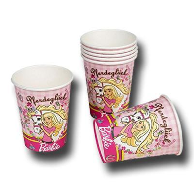 """6 Pappbecher rosa für den Kindergeburtstag """"Barbie Pferdeglück""""."""