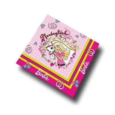 20 Motivservietten mit Barbie Pferdeglück Motiv in rosa und weiß.