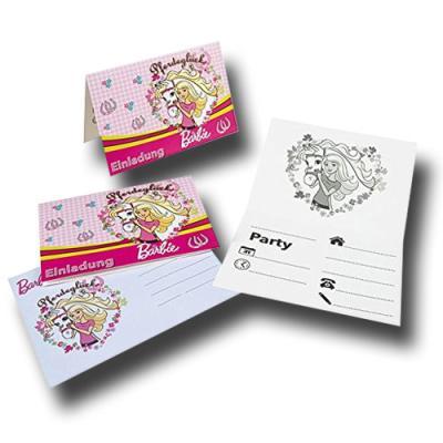"""6 rosafarbene Einladungskarten mit Umschlag für den Kindergeburtstag mit """"Barbie Pferde"""" Partymotto."""
