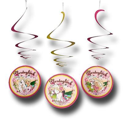 """3 """"Barbie Pferdeglück"""" Deko-Spiralen für die besondere Pferde Kinderparty."""