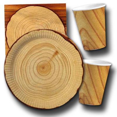 Partygeschirr Set mit Papptellern, Pappbechern und Servietten im Holzdesign.