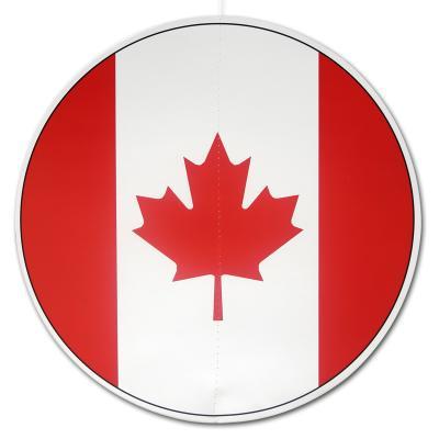 Großer, runder Dekohänger mit Kanada Flaggen Motiv in rot und weiß.