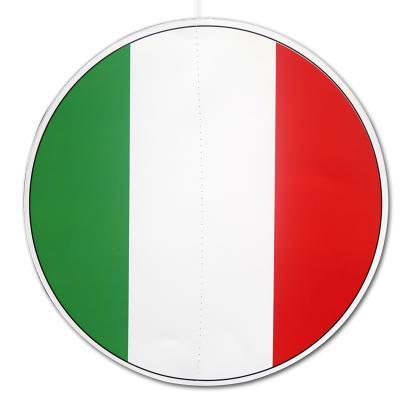 Großer Dekohänger in den Farben der Italien Flagge grün-weiß-rot (Karton, rund, ca. 28 cm Durchmesser, beidseitig bedruckt).