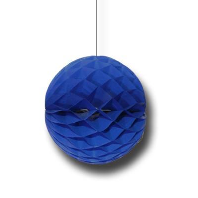 Partydeko Wabenball blau aus schwer entflammbarem Papier und Karton.