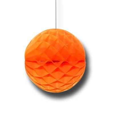 Partydeko Wabenball orange aus schwer entflammbarem Papier und Karton.