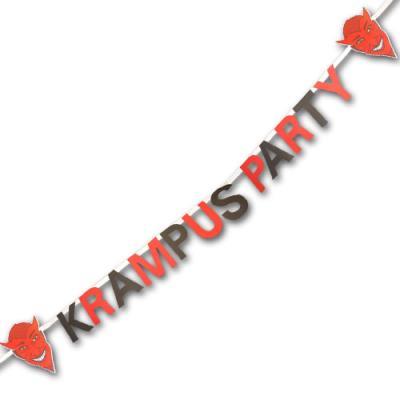 Rot-schwarze Buchstabenkette KRAMPUS PARTY mit Krampus Motiven aus Kartonpapier.