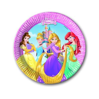 8 Pappteller mit Prinzessinnen Motiven für den Kindergeburtstag mit Partymotto Prinzessin.