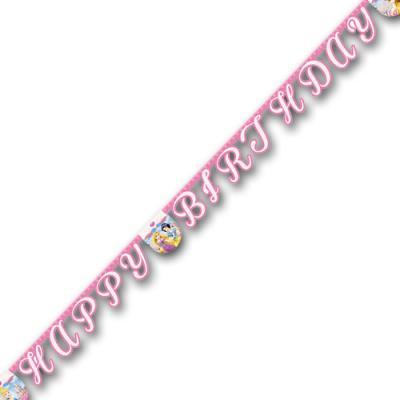 1 Buchstabengirlande mit HAPPY BIRTHDAY Schriftzug und Prinzessinnen Motiven für die passende Kindergeburtstag Mottoparty.