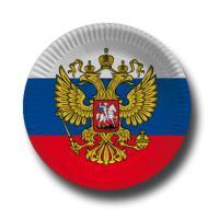 Pappteller mit Russland Flaggenmotiv