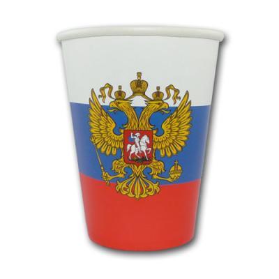 10 weiß-blau-rote Pappbecher Russland mit Adler Wappen