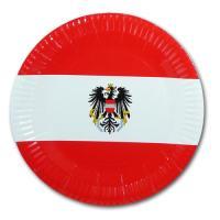 Pappteller mit Österreich Flaggenmotiv
