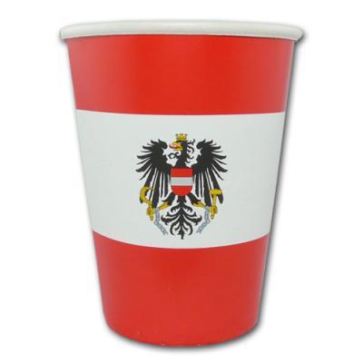 10 Länderdeko Österreich Pappbecher in rot-weiß mit österreichischem Adler Wappen.