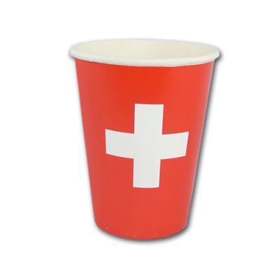 10 Pappbecher im Schweizer Kreuz Design für ein rot-weißes Partygeschirr zur Länderdeko Schweiz.