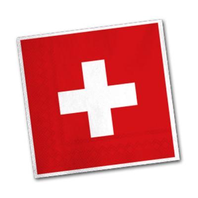 Schweiz Motivservietten in rot-weiß mit Flaggenmotiv