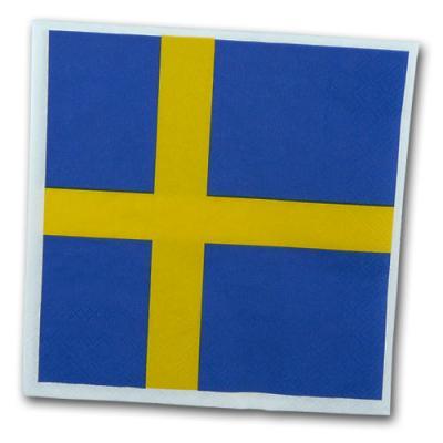 Schweden Motivservietten mit gelb-blauem Flaggenmotiv