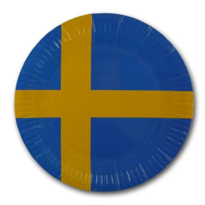 Pappteller mit Schweden Flaggenmotiv