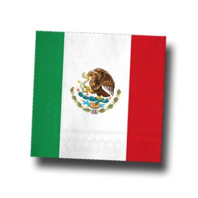 Mexiko Motivservietten grün-weiß-rot mit Flaggenmotiv