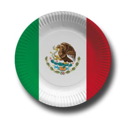 Pappteller mit Mexiko Flaggenmotiv