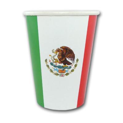 10 Pappbecher im grün-weiß-roten Mexiko Design mit Adler Wappen