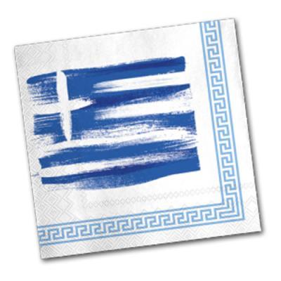 Griechenland Motivservietten in blau-weiß mit Fahnenmotiv