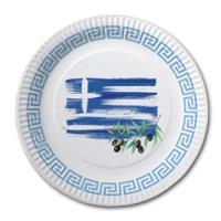 Pappteller mit Griechenland Flaggenmotiv.