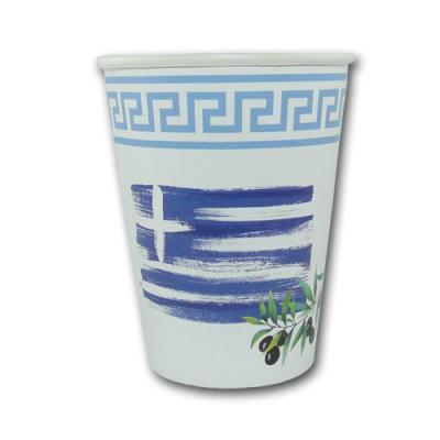 10 blau-weiße Pappbecher mit Griechenlandflagge und Olivenzeig Motiv.