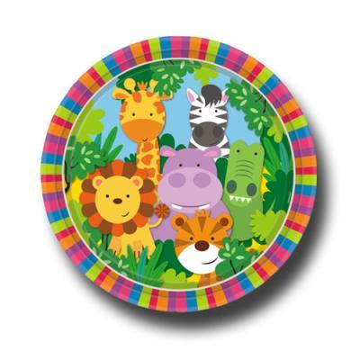 8 Pappteller mit Tiermotiven für den Kindergeburtstag Safari.