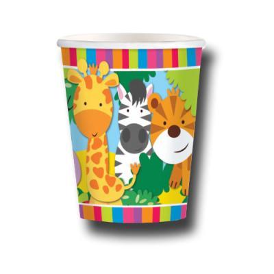 8 Pappbecher mit tierischen Safari Motiven für eine perfekte Kindergeburtstag Mottoparty.