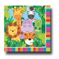 20 Servietten für den Kindergeburtstag mit Safari Motiv.