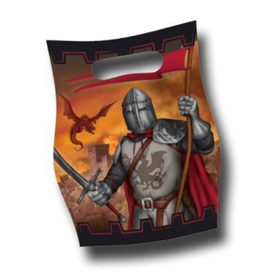 8 Kindergeburtstag Partytaschen mit mittelalterlichem Ritter Motiv.