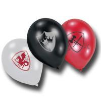 6 mittelalterliche Luftballons mit Ritter Motiven.