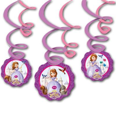 Kindergeburtstag Sofia die Erste Spiraldeko 6er-Set