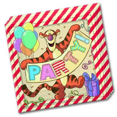 Papierservietten mit Winnie the Pooh Motiven für die Kindergeburtstag Mottoparty.