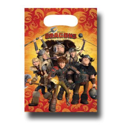 6 Partytaschen mit den Drachenreitern von Berk für einen abenteuerlichen Kindergeburtstag mit Partymotto DRAGONS.