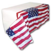 Weißes Kunststoff Tischtuch mit USA Flaggen Motiv
