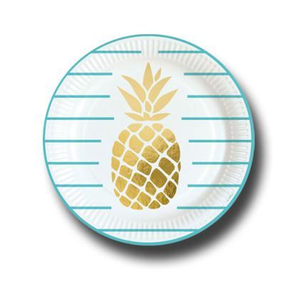 Pappteller türkis und weiß mit Goldene Ananas Motiv.