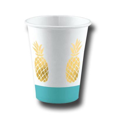 8 edle Pappbecher mit goldener Ananas Motiv