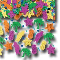 Buntes Motiv-Konfetti Karibik aus glitzernder Metallic Folie