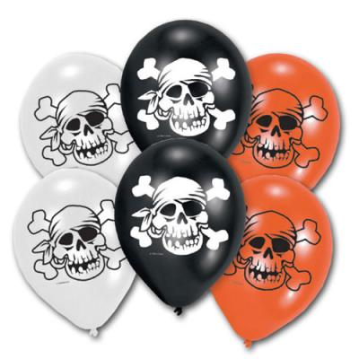 6 orange und schwarze Luftballons mit Piraten Totenkopf Motiven Jolly Roger in schwarz und weiß.