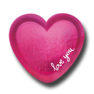 Pink glänzende Pappteller in Herzform