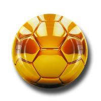 Pappteller mit goldenem Fußballaufdruck in Glanzoptik
