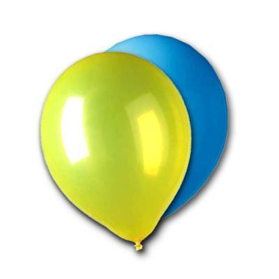 10 Qualitäts-Luftballons gemischt in blau und gelb für eine perfekte Partydeko.