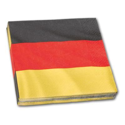 Servietten im Design der Deutschland Flagge in schwarz-rot-gold.