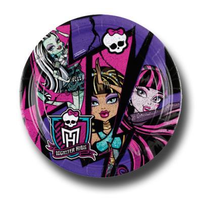 8 Pappteller mit Motiven für den Kindergeburtstag mit Partymotto Monster High.