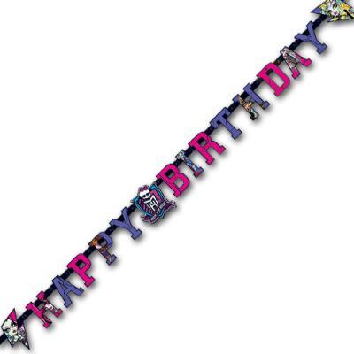 Partykette Happy Birthday mit Motiven für den Kindergeburtstag Monster High.